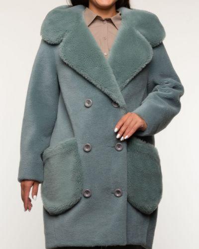 Зеленое шерстяное пальто с капюшоном Aliance Fur