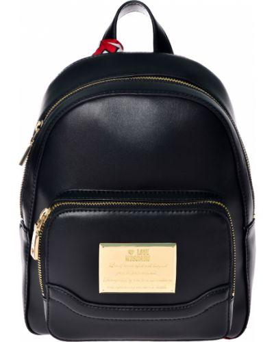 Рюкзак черный на молнии Love Moschino