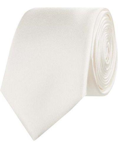 Biały krawat z jedwabiu Monti