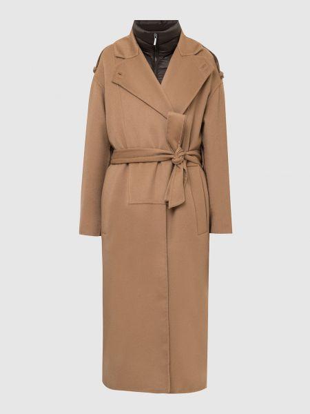 Бежевое шерстяное пальто Moorer