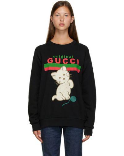 Czarny sweter z aplikacjami z kołnierzem z długimi rękawami Gucci