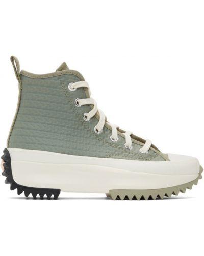 Czarne wysoki sneakersy na platformie sznurowane Converse