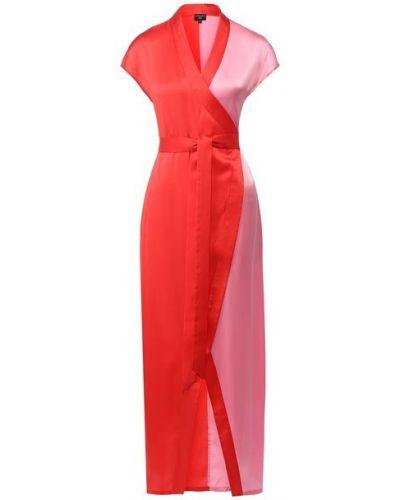 Шелковое красное платье с запахом Natayakim