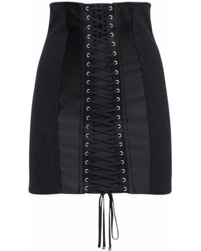 Ажурная сатиновая с завышенной талией юбка мини Dolce & Gabbana