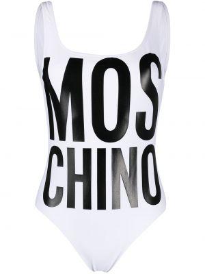 Пляжный белый купальник с шортами с вырезом Moschino