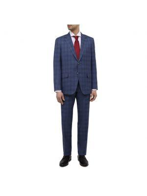 Костюмный синий шерстяной костюм Canali