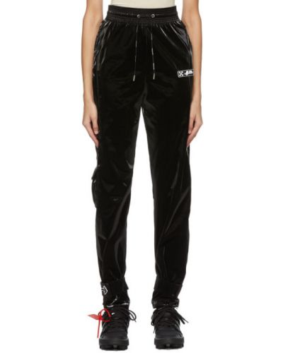Aksamit czarny spodnie z kieszeniami z mankietami Off-white