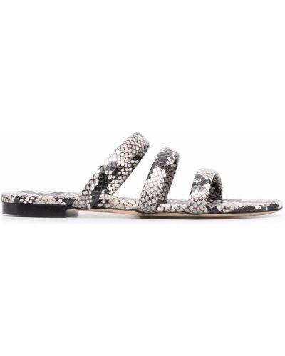 Wężowe czarne sandały skórzane bez obcasa Aeyde