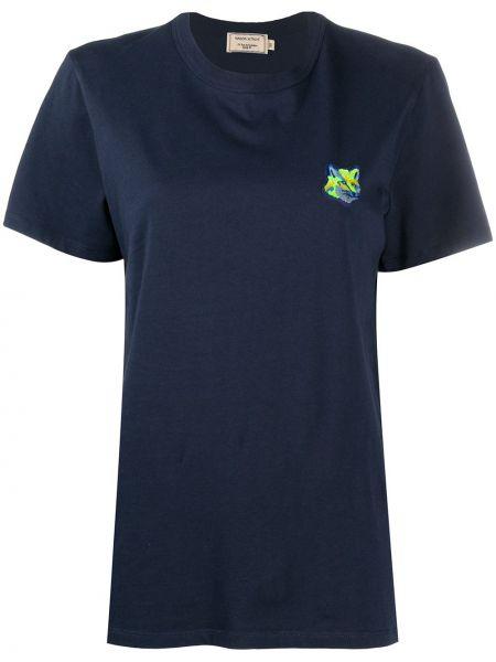 Хлопковая синяя прямая футболка с круглым вырезом Maison Kitsuné