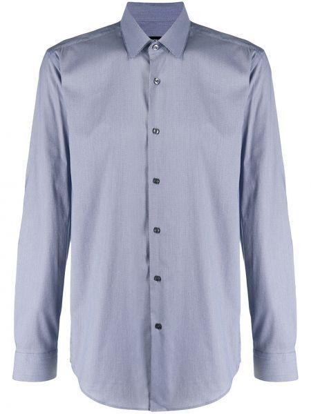 Синяя рубашка с длинными рукавами с воротником Boss Hugo Boss