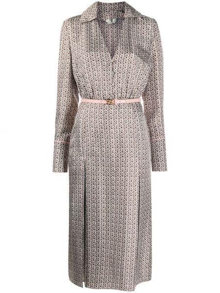 Платье на пуговицах с V-образным вырезом Fendi