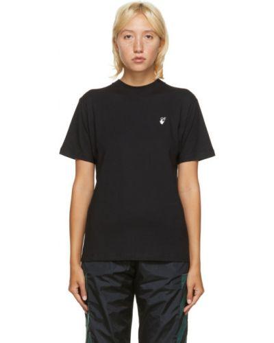 Bawełna czarny koszula z krótkim rękawem z kołnierzem rozciągać Off-white