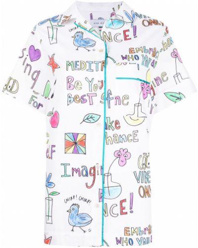 Хлопковая белая классическая рубашка с короткими рукавами Mira Mikati