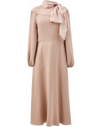 Шелковое платье на пуговицах с воротником с бантом Valentino