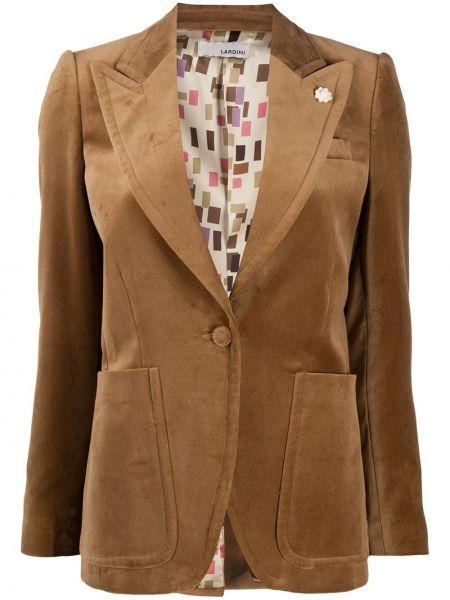 Бархатный коричневый классический пиджак на пуговицах Lardini
