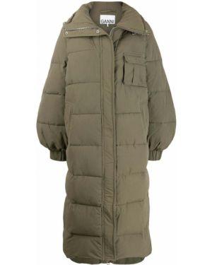 Коралловое длинное пальто с воротником Ganni