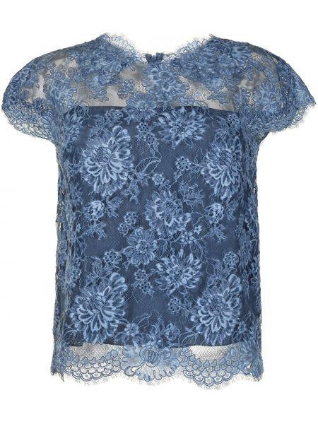 Хлопковая синяя футболка с вышивкой Ermanno Scervino