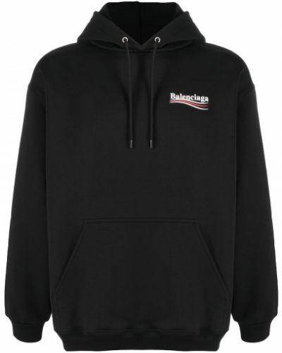 Bawełna bawełna czarny bluza z kapturem z kapturem Balenciaga