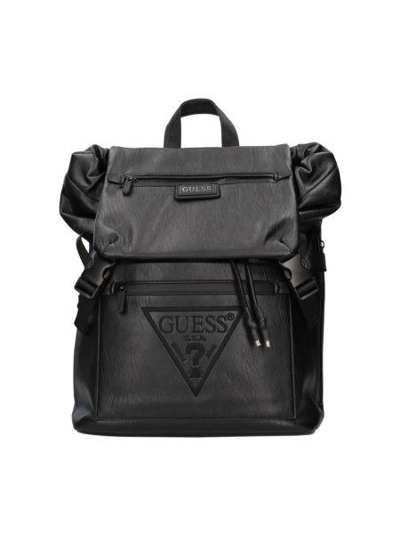 Czarny plecak na laptopa z klamrą w paski Guess