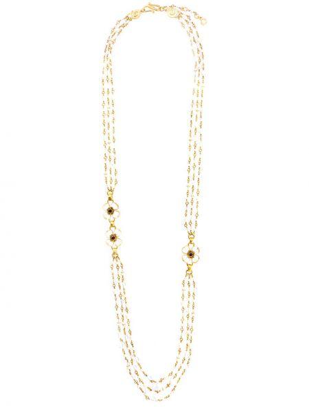 Золотистое желтое ожерелье с жемчугом на крючках с гранатом Goossens