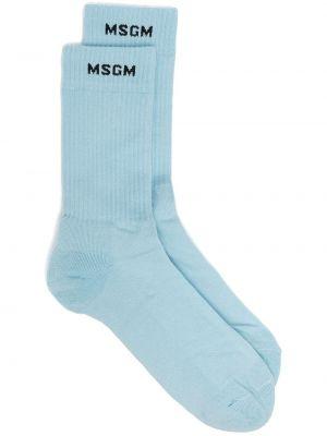 Хлопковые носки эластичные в рубчик Msgm