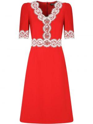 Красное кружевное платье мини с вырезом Dolce & Gabbana