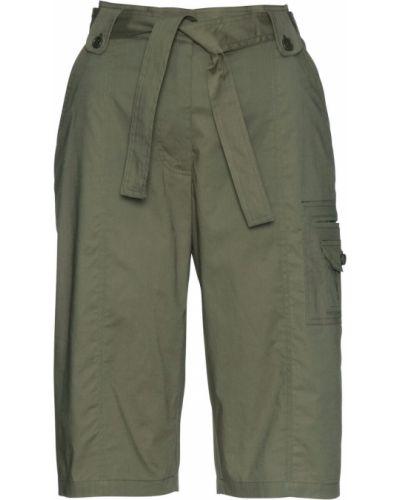 Оливковые брюки карго с поясом Bonprix