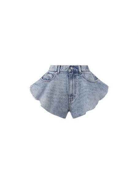 Хлопковые синие джинсовые шорты со стразами Denim X Alexander Wang