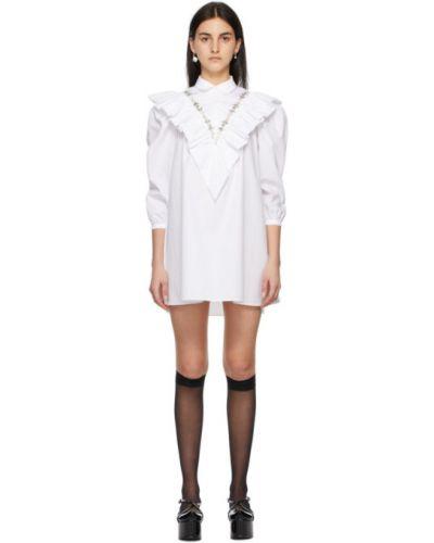 Biała sukienka mini z falbanami bawełniana Shushu/tong