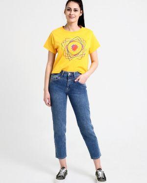Пляжные свободные джинсы с высокой посадкой стрейч с пайетками F5