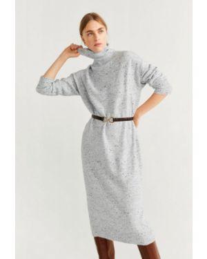 Платье серое вязаное Mango