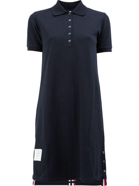 Niebieska sukienka mini w paski krótki rękaw Thom Browne