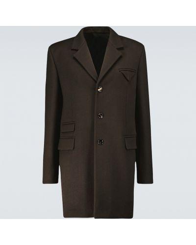 Klasyczny brązowy płaszcz wełniany Bottega Veneta