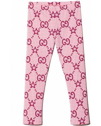Białe spodnie z printem Gucci Kids
