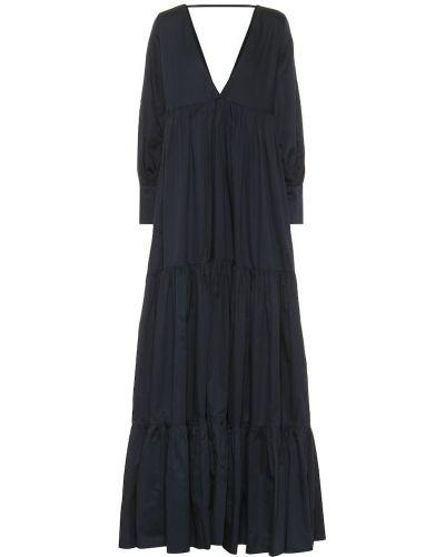 Ватное хлопковое синее платье макси Kalita