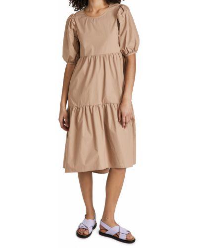 Хлопковое бежевое платье миди с декольте Minkpink