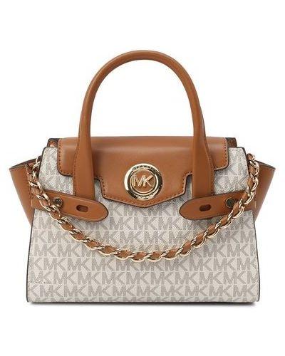 Текстильная бежевая маленькая сумка Michael Michael Kors