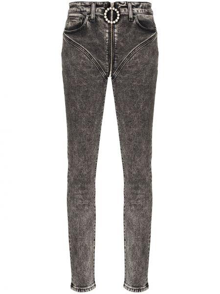 Облегающие зауженные джинсы - серые Alessandra Rich