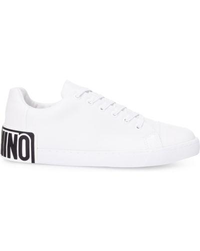 Buty sportowe skorzane - białe Moschino