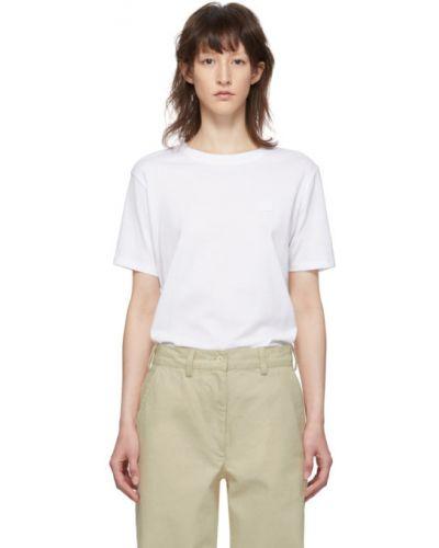 Bawełna biały koszula z krótkim rękawem z kołnierzem z haftem Acne Studios
