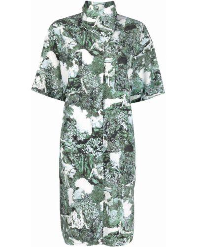 Платье рубашка - зеленое Kenzo