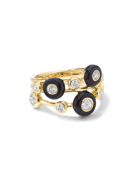 С ромбами кольцо золотое с бриллиантом Ippolita