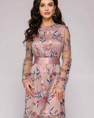 Коктейльное платье из фатина с вышивкой 1001 Dress
