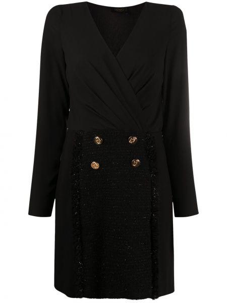 Приталенное черное платье мини с длинными рукавами Liu Jo