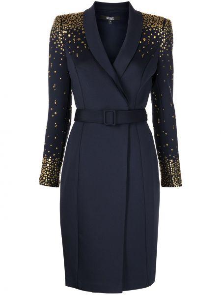 Золотистое черное платье макси с заклепками Badgley Mischka