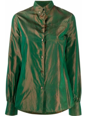 Зеленая рубашка с воротником с карманами на пуговицах Jean Paul Gaultier Pre-owned
