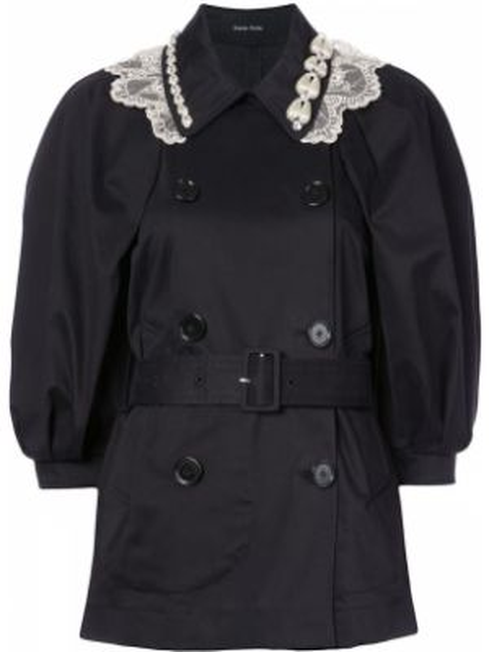 Czarny płaszcz z paskiem bawełniany Simone Rocha