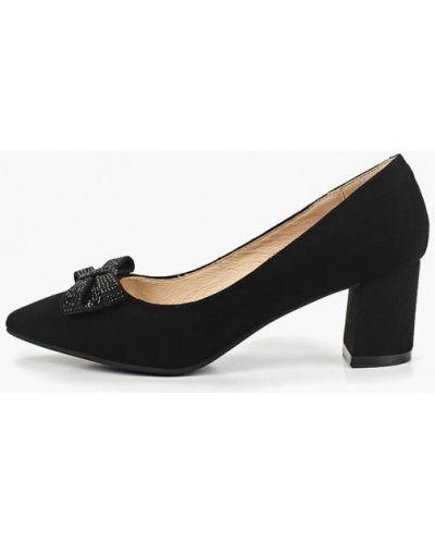 Туфли на каблуке черные замшевые Pierre Cardin