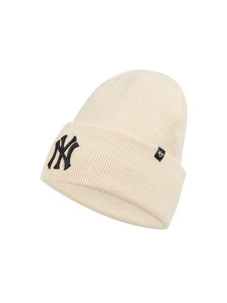 Miękki biały czapka baseballowa z paskami '47