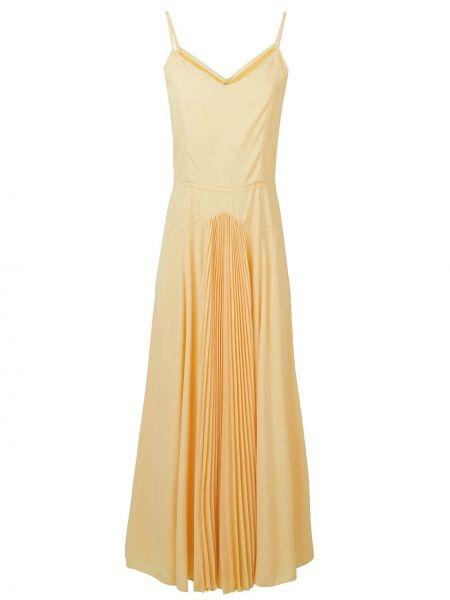 Желтое платье со складками на бретелях на молнии Noon By Noor